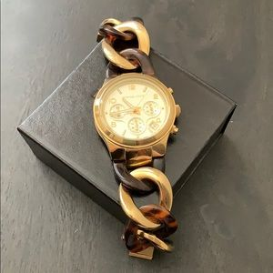 Micheal Kors Gold & Tortoise Shell Bracelet Watch